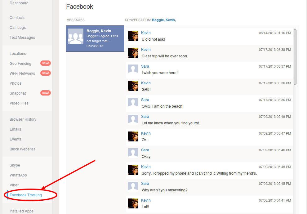 mSpy Facebook chat hacken