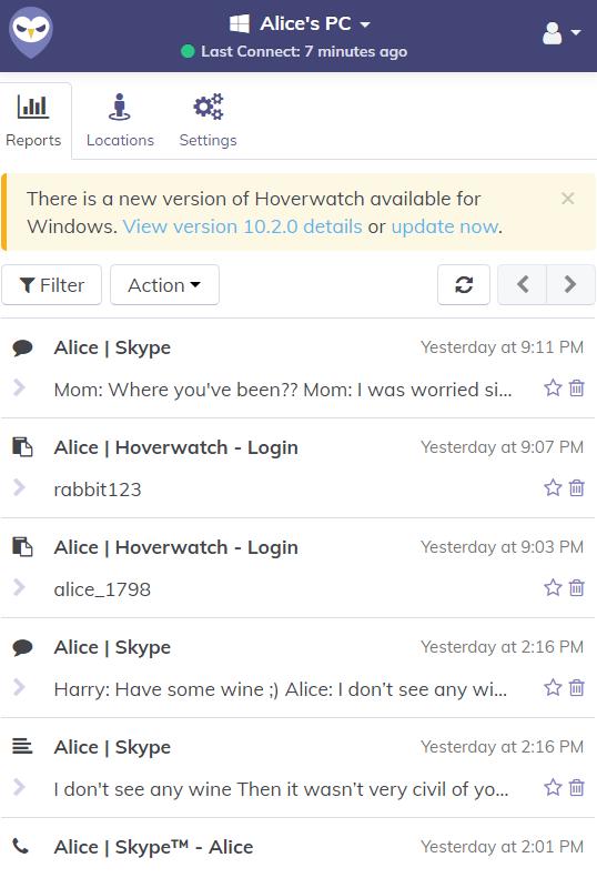 Testen Sie Hoverwatch Keylogger kostenlos für 3 Tage